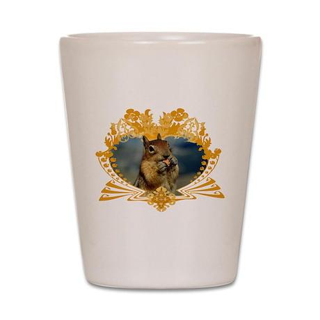 Squirrel Artwork Crest Shot Glass