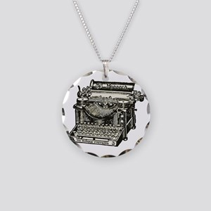 Vintage Monarch Typewriter Necklace Circle Charm