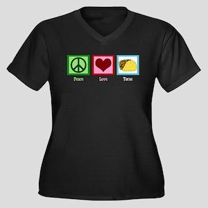 Peace Love Tacos Women's Plus Size V-Neck Dark T-S