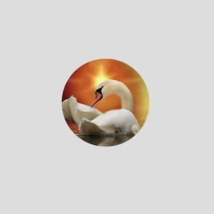 Mystical Swan in Golden Light Mini Button