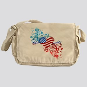 Independence Day Heart Scroll Messenger Bag