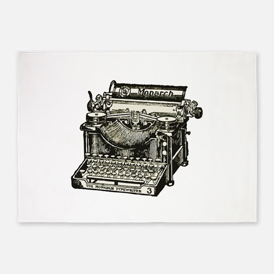 Vintage Monarch Typewriter 5'x7'Area Rug