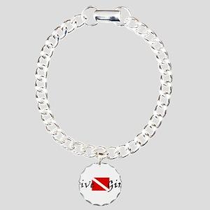 dive girl logo 1 black.psd Charm Bracelet, One Cha