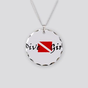 dive girl logo 1 black Necklace Circle Charm