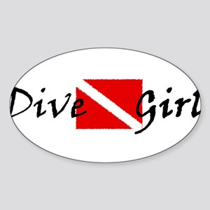 dive girl logo 1 black Sticker (Oval)