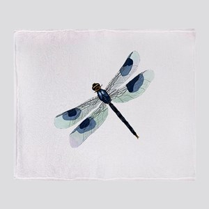 Blue Watercolor Dragonfly Throw Blanket