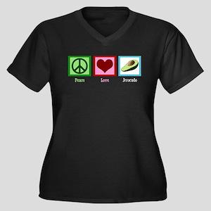 Peace Love Avocado Women's Plus Size V-Neck Dark T