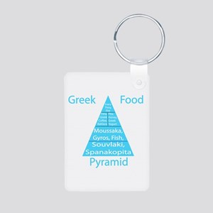 Greek Food Pyramid Aluminum Photo Keychain