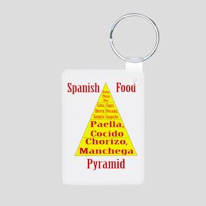 Spanish Food Pyramid Aluminum Photo Keychain