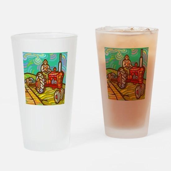 Van Gogh Tractor Drinking Glass