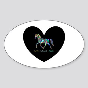 Rainbow horse gift Sticker (Oval)