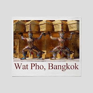 Wat Pho Figures Throw Blanket
