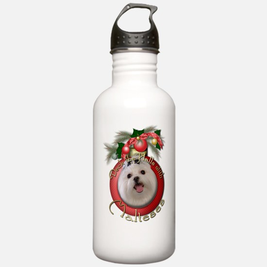 Christmas - Deck the Halls - Malteses Water Bottle
