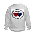 US Navy I love a man... Kids Sweatshirt