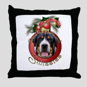Christmas - Deck the Halls - Swissies Throw Pillow