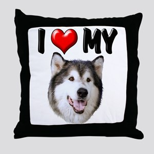 I Love My Alaskan Malamute Throw Pillow