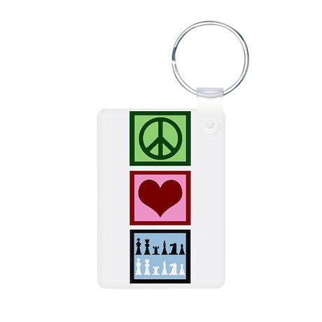 Peace Love Chess Aluminum Photo Keychain