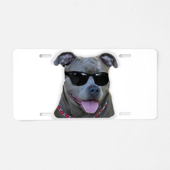 Pitbull in sunglasses Aluminum License Plate