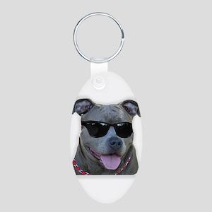 Pitbull in sunglasses Aluminum Oval Keychain