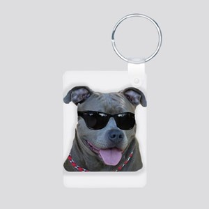 Pitbull in sunglasses Aluminum Photo Keychain