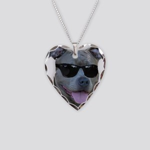 Pitbull in sunglasses Necklace Heart Charm