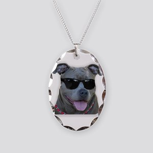 Pitbull in sunglasses Necklace Oval Charm