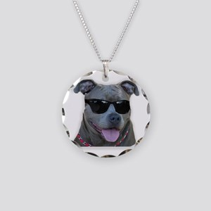 Pitbull in sunglasses Necklace Circle Charm