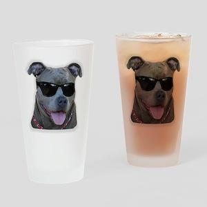 Pitbull in sunglasses Drinking Glass