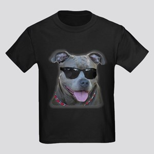 Pitbull in sunglasses Kids Dark T-Shirt