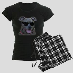 Pitbull in sunglasses Women's Dark Pajamas