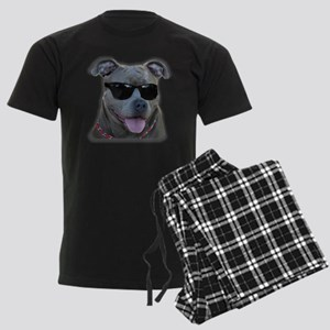 Pitbull in sunglasses Men's Dark Pajamas