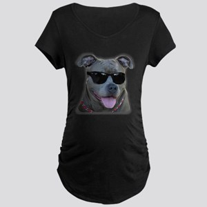 Pitbull in sunglasses Maternity Dark T-Shirt