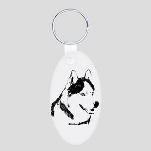 Siberian Husky Sled Dog Aluminum Oval Keychain