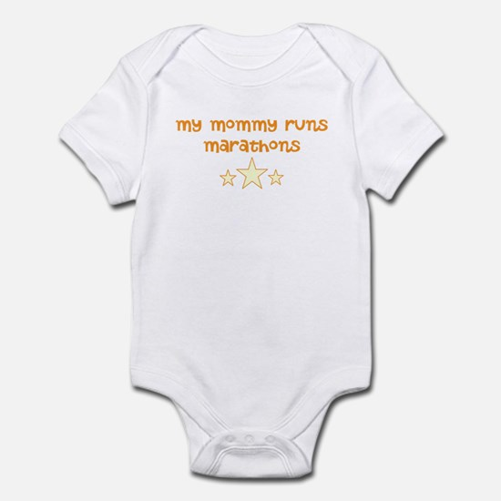 my mommy runs (orange) Infant Bodysuit