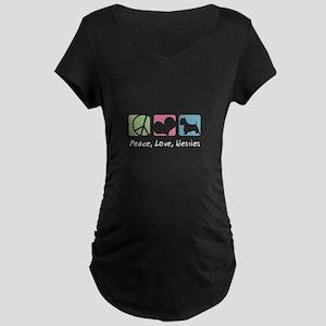 Peace, Love, Westies Maternity Dark T-Shirt