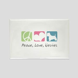 Peace, Love, Westies Rectangle Magnet