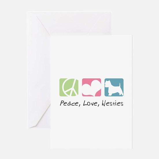 Peace, Love, Westies Greeting Card
