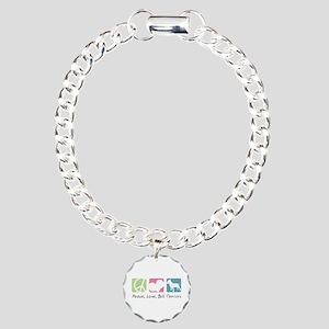 Peace, Love, Bull Terriers Charm Bracelet, One Cha