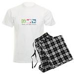 Peace, Love, Bull Terriers Men's Light Pajamas
