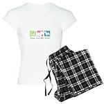 Peace, Love, Bull Terriers Women's Light Pajamas