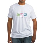 Peace, Love, Bull Terriers Fitted T-Shirt