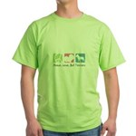 Peace, Love, Bull Terriers Green T-Shirt