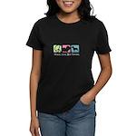 Peace, Love, Bull Terriers Women's Dark T-Shirt