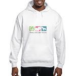 Peace, Love, Bull Terriers Hooded Sweatshirt