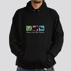 Peace, Love, Bull Terriers Hoodie (dark)