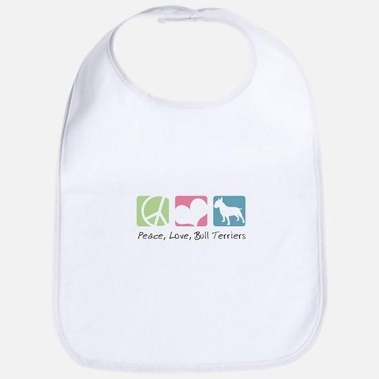 Peace, Love, Bull Terriers Bib