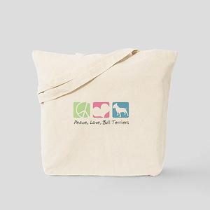 Peace, Love, Bull Terriers Tote Bag