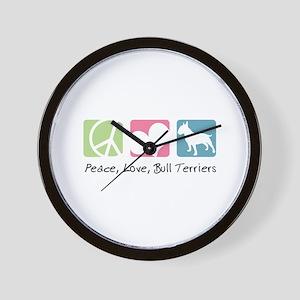 Peace, Love, Bull Terriers Wall Clock
