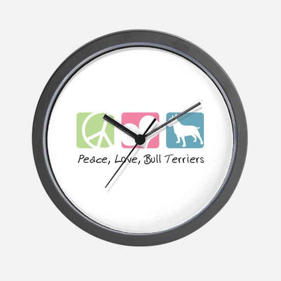 Peace, Love, Bull Terriers Wall Clock