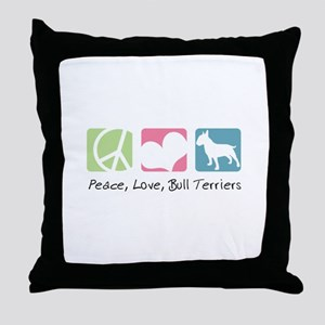 Peace, Love, Bull Terriers Throw Pillow